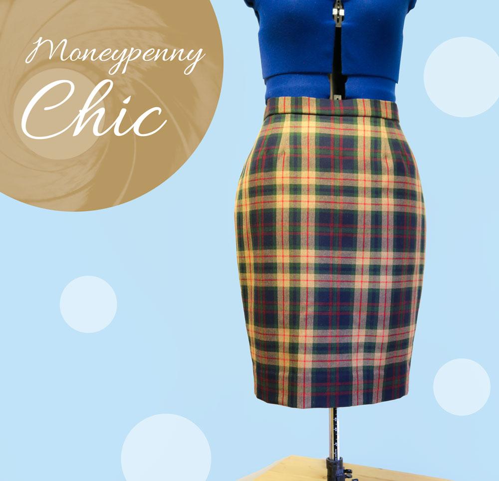 wool tartan pencil skirt