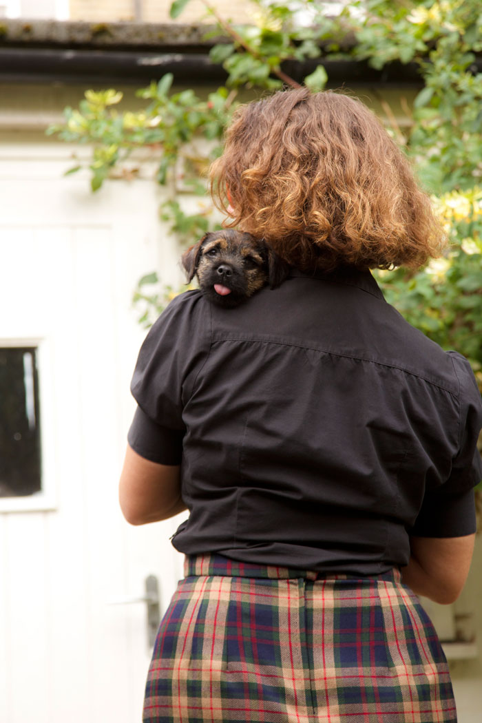 back view with Frankie the puppy