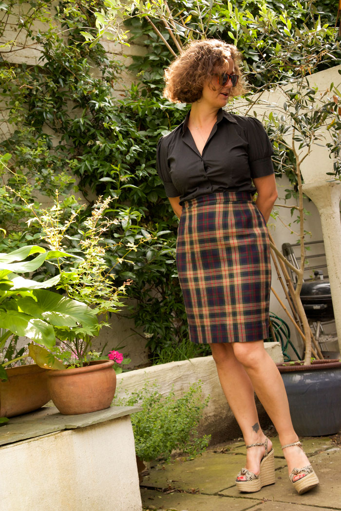 fitted pencil skirt modelled in the garden