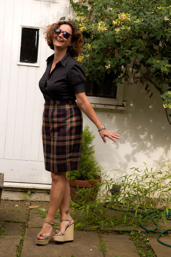 Katy happy in her new skirt