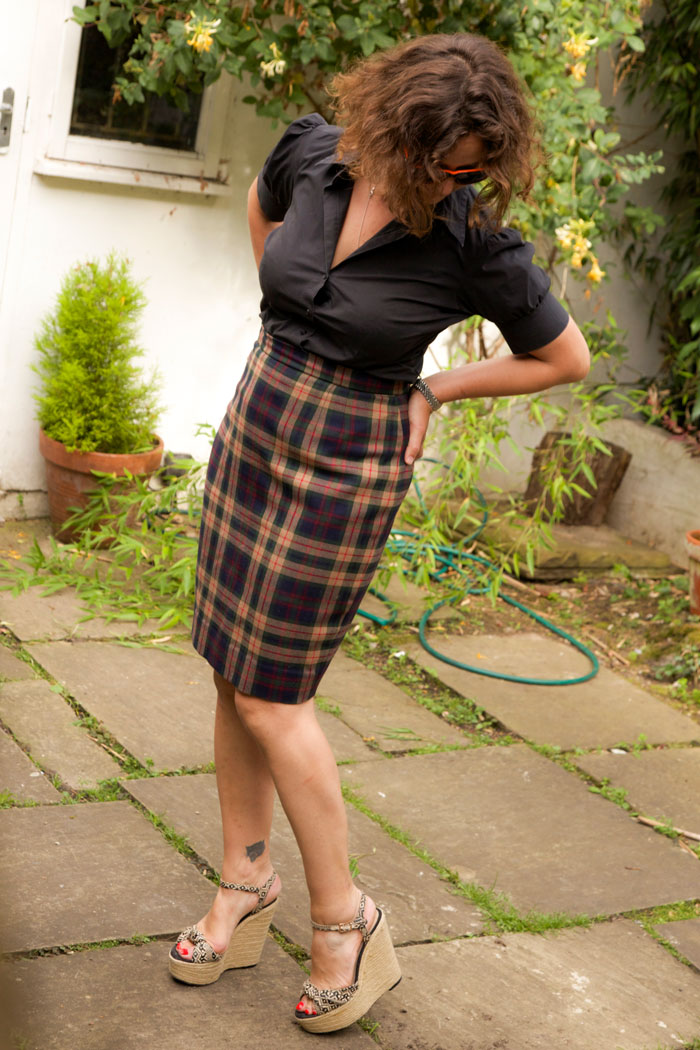 Katy modelling pencil skirt