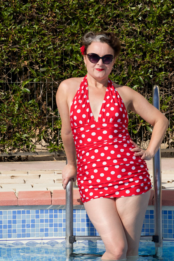 bombshell swimsuit in the pool