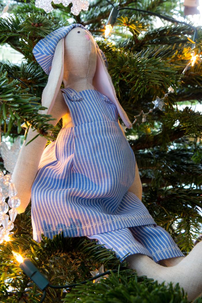 tilda rabbit in christmas tree