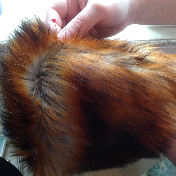 picked trapped fur from seam with pin