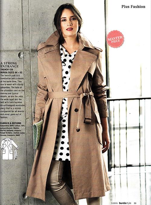 plus size trench coat burda march 2015