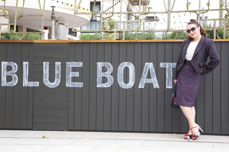 Posing outside the Blue Boat