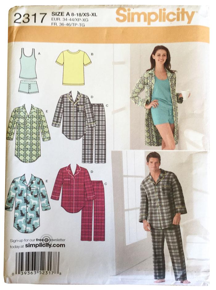 Simplicity 2317 pyjama pattern