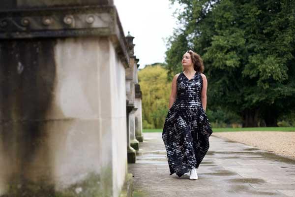 walking in burda maxi dress