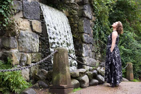 ooobop standing by waterfall