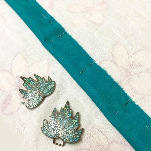 pin fabric along length