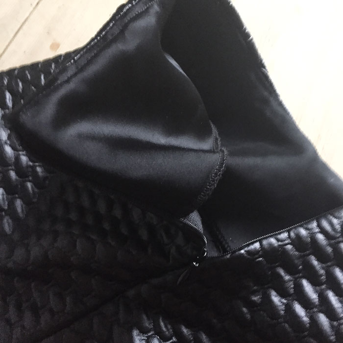 quilted mini skirt facing