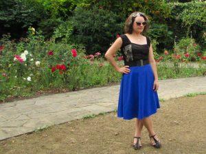 blue half circle skirt