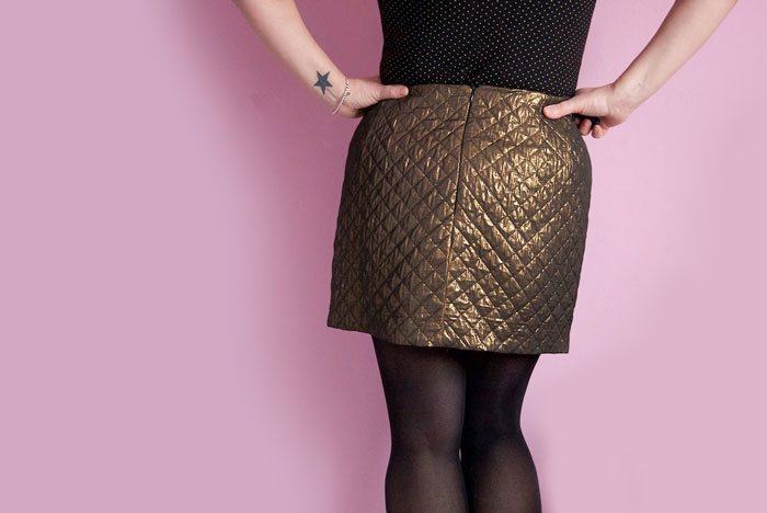 gold quilted skirt back