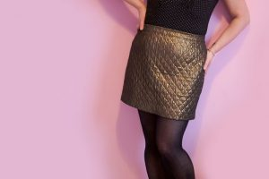 gold quilted skirt front