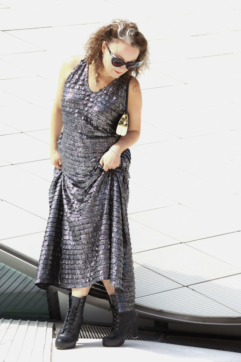 metal burda maxi dress over exposed