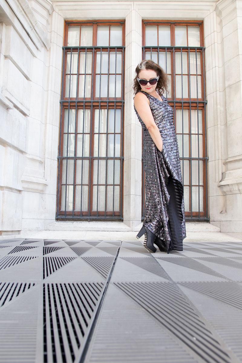 Silver Burda dress at the V&A