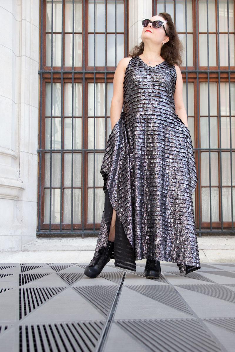 Silver Burda Maxi dress front view