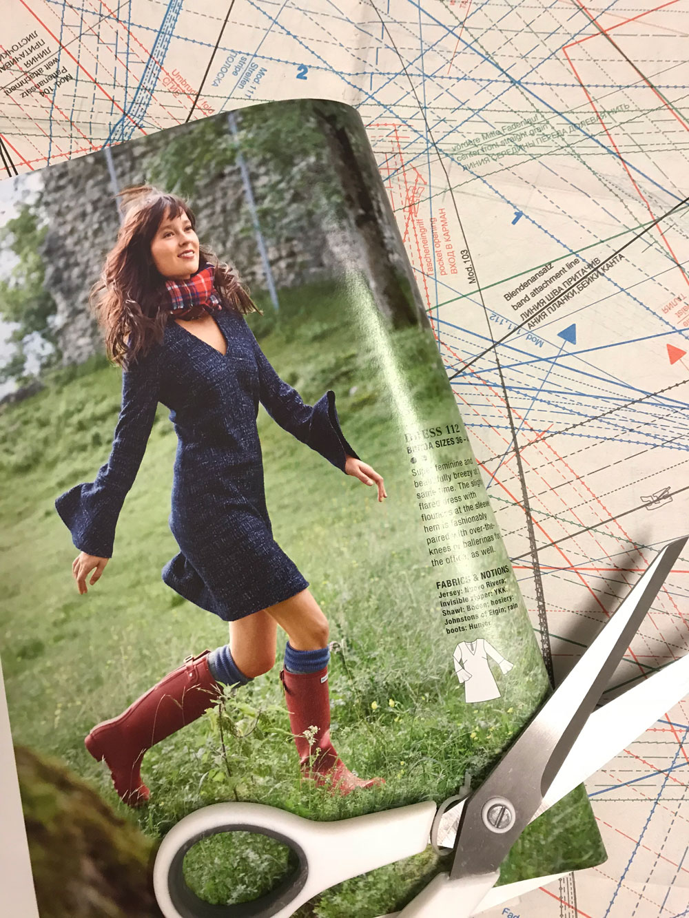 Burda bell sleeve dress in magazine