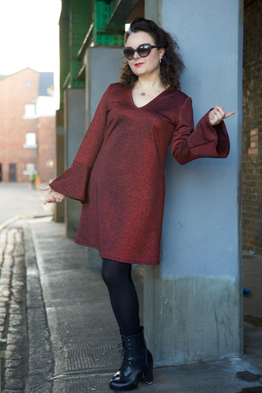 red litter bell sleeve dress full length