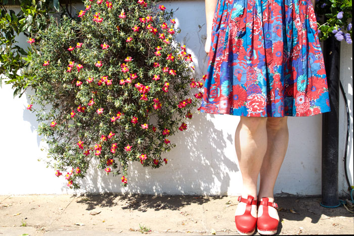 Handmade dress by ooobop and Lotta from Stockholm clogs
