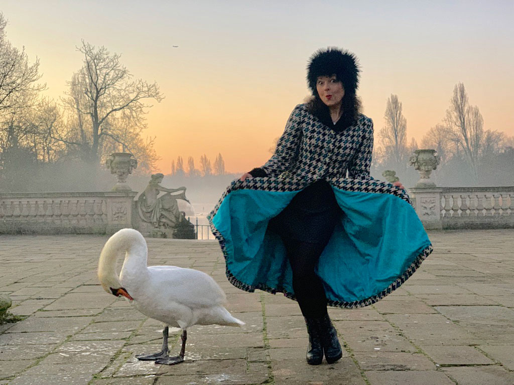 ooobop vintage coat sunrise and swan