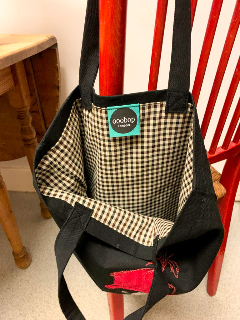 inside of lined tote bag
