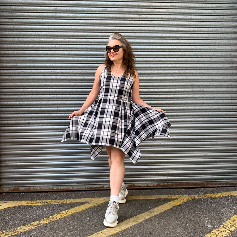 ooobop monochrome tartan handkerchief hem dress