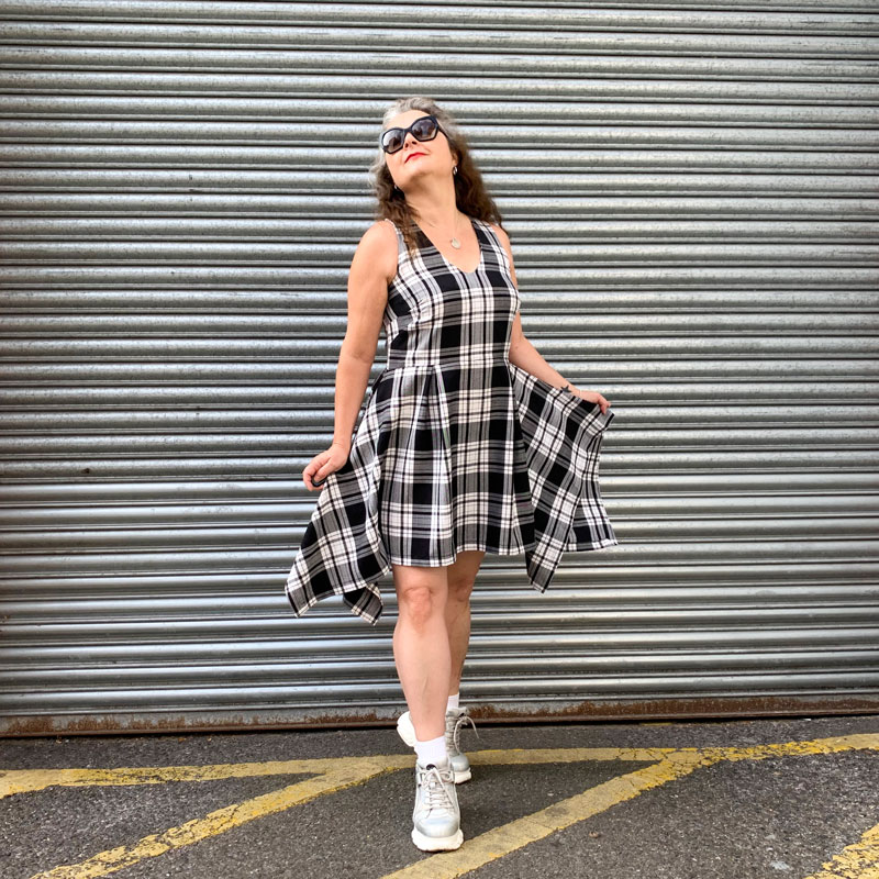 ooobop monochrome tartan dress